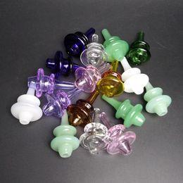 Wholesale Nail Colours - Carb Cap for Quartz Banger and Quartz Nail Dab Rigs High Quanlity Coloured Glass Bubble Cap with Hole on Top Quartz Thermal Banger Nails