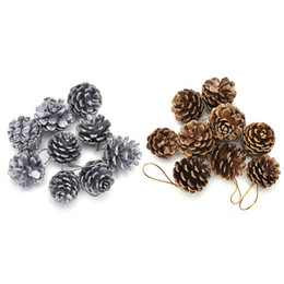 шаровой конус Скидка 9Pcs Christmas Tree Pine Cones Pinecone Hanging Ball Holiday Xmas New Year Party Ornament For Home Festival 2Colors Supplies