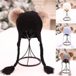 ganchillo sombrero de la boina del bebé Rebajas Invierno recién nacido bebé niño niña Warm Knit Beanie Hat Pom Beret Crochet dobladillo Cap Doble esfera trenza sombrero de lana 1-5T