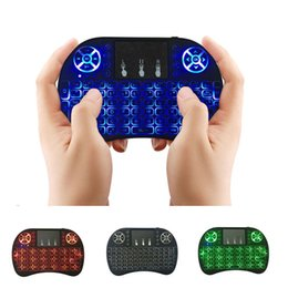 Wholesale iptv remote - Mini Keyboard Backlit Mouse Multi-touch Pad 2.4G Rii i8+ Wireless Game Keyboard Fly Air Mouse Remote for MXQ Andriod TV Box IPTV