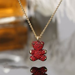Wholesale 3d Teddy - 3D Teddy Bear Bear Necklace Crystal Clavicle Chain Sent wife Wife Birthday Gift Fashion Jewelry