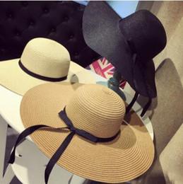 Grande cappello di paglia pieghevole floscio delle donne Boho largo bordo di protezione solare della spiaggia di Brim 3 colori con l'arco vacanza estiva Trasporto libero cheap sun hats bows da i cappelli del sole si inchinano fornitori