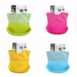 silicone pocket bibs Coupons - Wholesale- Baby Bibs Cartoon Animal Waterproof Rice Pockets Washable Silicone Baby Bibs Newbron Feeding Bib Infant Bibs