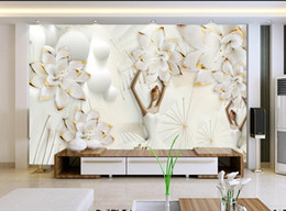 Wholesale Fabric Photo Paper - European photo wallpaper mural flowers relief 3d stereoscopic wallpaper for living room bedroom