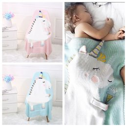 Wholesale cartoon animal bedding - Kids Newborn Unicorn Blankets Baby Cartoon ins Animal Crochet Knitted Bed Air Conditioning Napping Wool Throw Blanket MMA275 12pcs