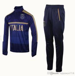 Wholesale Men Italian Pants - 2017 2018 Survetement football Italy tracksuit italia training suit kits Soccer Chandal 17 18 italian training shinny tight pants