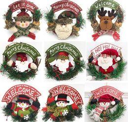 corredi delle corone Sconti Christmas Wreath Christmas Tree Pupazzo di neve Santa Elk Rattan Reed Garland Natale Xmas Decoration Ornaments Party Supplies