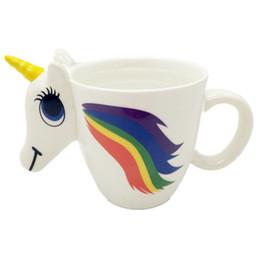Wholesale Ceramics Cup - Unicorn Ceramic Cup Cartoon Lovely Milk Water Coffee Mug Color Changing Sensitive Magical Unicornio Tumbler Top Quality 20kb CB