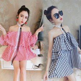 Wholesale Joker Sexy Dress - Summer fashion sexy word collar exposed halter top joker shirt