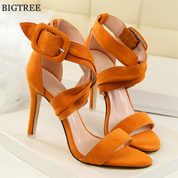 Wholesale Leather Covered Belt Buckles - 2017 Thin Heels Women's Party Sandals Sexy Cross-tied Belt Buckle Women Sandals Concise Solid Flock Open Toe High Heels Shoes