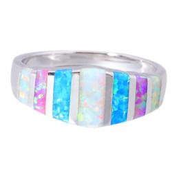 Plata de ley rosa opal online-925 anillo de plata esterlina para las mujeres de color rosa azul blanco blanco ópalo de boda joyería de las mujeres envío rápido rápido
