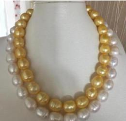 yellow sea pearl Australia - 35inch 10-12mm south sea baroque white yellow Multicolor pearl necklace 17-18