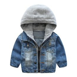 Wholesale kids jeans boys - Baby Boys Girls Jeans Denim Jackets Hoody Cardigan Cowboy Coat Kids Children Top Clothes with Hat