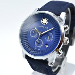Wholesale Big Analog Clock - 42mm AAA Luxury Brand Men's Leather Bracelet Chronograph Quartz Watch Fashion Sport Clock Big Watch Men Army Military Replicas Analog Watch