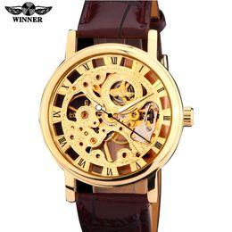 2019 reloj esqueleto banda marrón 2018 ganador de la marca de oro tono dorado Skeleton Hand viento Mecánico Hombres reloj marrón negro de cuero artificial banda fina reloj esqueleto banda marrón baratos