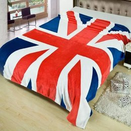 Wholesale Fabric Sofas Sets - Wholesale-2016 Fleece Blanket Union Jack United State Flag Flannel Blankets Throw On Bed Travel Sofa Bed Blanket 150*200cm Home Textile
