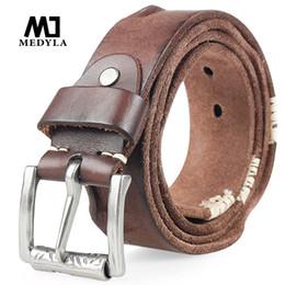 e0fee735fcf MEDYLA Más Nuevo Cinturón de Cuero Genuino para Hombres Pin Hebilla Cinturón  de Cuero de Grano Completo para Pantalones Vaqueros Correa Ancha de Alta ...