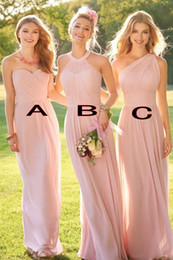 Wholesale blush one shoulder dress - Blush Pink Long Country Style Bridesmaid Dresses Ruched One Shoulder Sweetheart Backless Cheap Maid Of The Honor Dresses HY248