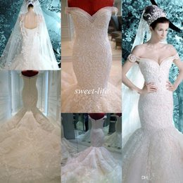 Wholesale Red Pearl Color - Michael Cinco Wedding Dresses 2018 Vintage Pearls Lace Appliques Off the Shoulder Sheer Backless Luxury Mermaid Wedding Dress Bridal Gowns