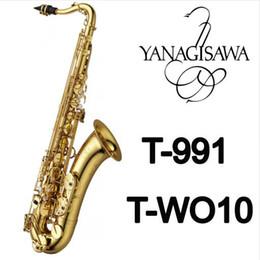 Saxophone laqué doré en Ligne-YANAGISAWA T-991 T-WO10 Saxophone ténor Or Laque B Plat Bb En Laiton Tube Sax Marque Instruments Avec Étui, Gants Pour Les Étudiants