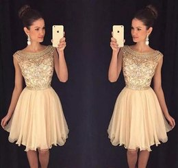 Wholesale cute cocktail - Cute Beading Crystals Chiffon 2019 Homecoming Dresses Sweet 16 Dresses Short Formal Party Gowns 8th Grade Graduation Prom Dresses Cocktail