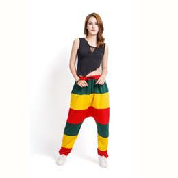 Wholesale Niños adultos Spring Patchwork Pantalones de chándal de reggae jamaicanos Trajes a rayas Verde amarillo Rojo Paneled Punkwork Harem Pantalones de baile Hip Hop