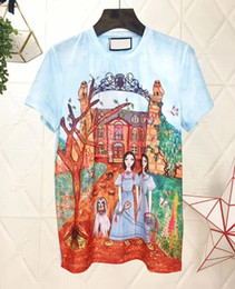 Wholesale fashion illustration prints - 2018 spring and summer new fairy tale manor dyeing printing round neck short-sleeved T-shirt illustration fashion cotton T-shirt