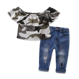 Wholesale Girls Stylish Clothes - Stylish Kids Girl Clothes Casual Off Shoulder Camouflage Tops and Hole Pocket Jeans 2pcs Cotton Set Kids Clothing Set