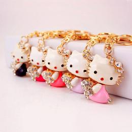 Suena buena suerte online-Cute Good Luck Cat llavero joyería - cristal esmalte Woemns niña llaveros llavero llavero colgante bolso del bolso del encanto del regalo