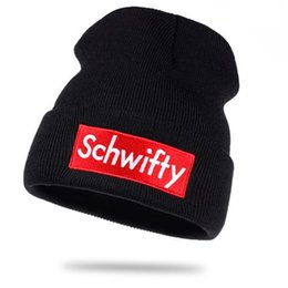 Wholesale white sailor hat men - Get Schwifty Winter Knitted Hats Rick and Morty Schwifty Classical Language Warm Skullies Beanie Embroidery Skiing Knit Hats
