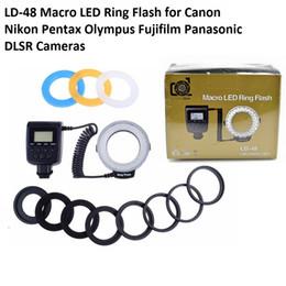 Lightodw LD-48 LED макро кольцо вспышки света видео лампа с ЖК-экраном для Canon 7D 6D 5D Nikon Fujifilm Pentax Olympus DSLR камеры от
