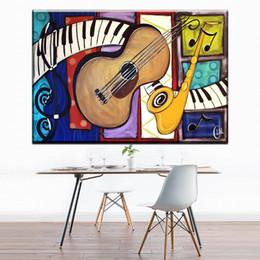 pintura a óleo instrumento Desconto 1 Painel moderno abstrato arte da lona colorido instrumento de música guitarra canvas pictures pintura a óleo da arte para sala de estar decoração do quarto Sem Moldura