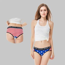 Bragas americanas online-Calzoncillos de algodón de señora de alto grado impresos ropa interior femenina y femenina de Europa y América brefs