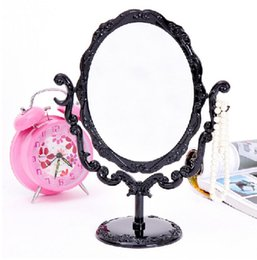 Wholesale small round mirrors wholesale - Wholesale Fashion Beautiful Makeup Mirror Desktop Rotatable Small Size Rose Stand Compact Mirror Black Butterfly #57700