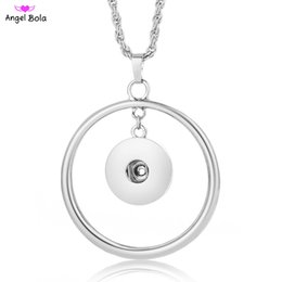 Wholesale Press Snap Buttons - Alloy Button Necklace Pendant Snap Press Pendant DIY Snaps Jewelry Snaps 18mm Button Pendant Necklace Free Shipping