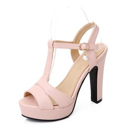 Wholesale Woman Flat Sandals Size 43 - Wholesale-Plus size 34-43 Hot 2016 Summer Women Sandals Fashion Thick High Heels Party Shoes T-Strap Rome Style Ladies Beach Shoes