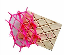 Wholesale Cookie Embosser - Wholesale- 2015 New Arrival Fondant Embosser Impression Grid modelling Flower Cookie Cutters Diamond Shaped Biscuit Molds Cake Tools frann