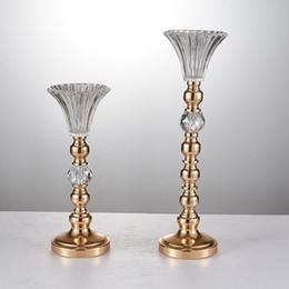 2019 pilares de cristal Adereços de casamento por atacado 10 peças de cristal de vidro vaso de pilar para mesa de casamento peça central decoração pilares de cristal barato