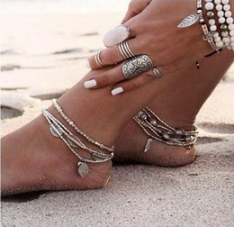 Wholesale Leaves Ornament - 2018 selling Bohemian 3 D DIY accessories leaves fish Tassel Starfish rune hanging Multilayer anklets women yoga bead Foot ornaments 22