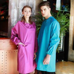 2019 mangas uniforme do hotel Hot New Kitchen Avental Para A Mulher Homens Engraçado Cozinhar À Prova D 'Água Aventais Mangas Compridas Trabalho Macacão Roupas