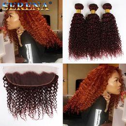 trenzas de ganchillo afro rizado Rebajas Afro Kinky 99J Twist Hair Crochet Trenzas Ombre Marley Braid Hair Burgundy 18inch Senegalese Curly Crochet 100% Human Trenzado Virgen Trenzado