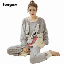 Wholesale Cartoon Pajamas Pink - Winter Women Flannel Pajamas Set Sleep Jacket Pant Sleepwear Warm Nightgown Female Cute Cartoon Bugs Bunny Pants Sleepwear