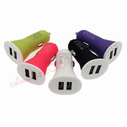 Adaptadores de iphone colores online-100pcs lot 5 Colors Dual Usb Ports 2.1A Car charger power adapter for iphone 5 6 6s 7 plus for samsung s4 s6 s7 Speaker Mp3 Gps