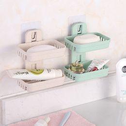 suporte de armazenamento do banheiro Desconto 4 Cores Camadas Duplas Soap Box Cozinha Acessórios Do Banheiro Saboneteira Sucção Titular Cesta De Armazenamento Soap Box Stand B