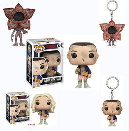 Wholesale Good Things - Funko POP stranger things Keychain Action Figures 4cm PVC cartoon keychain Pendant for children Gifts keyring KKA3622