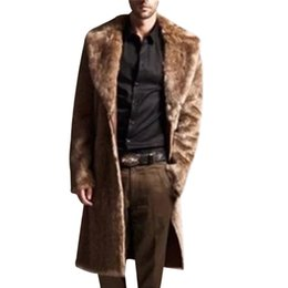 Mens faux trincea online-Uomo Cappotto di pelle Lungo Faux Fur Trench Coat Inverno Faux Fur Jacket Mens Punk Fluffy Parka Giacche Maschile Manteau Plus Size