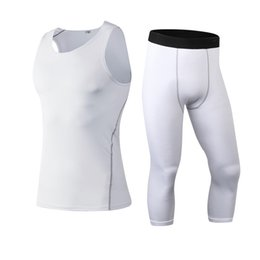 Wholesale Tight Suits Vest - Yuerlian Compression Tights Running Set Wicking Sport Suit Fitness T-Shirt Vest 3 4 Leggings Pant Gym Tracksuit Men'S Sportswear