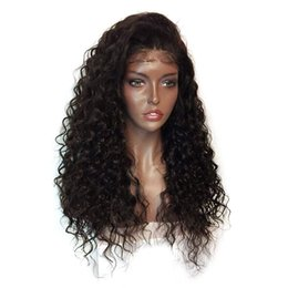 Wholesale Long Brown Wig Ponytail - Curly 360 Lace Frontal Wig with Baby Hair High Ponytail Brizilian Virgin Human Hair Customized 360 Lace Full Wigs 130% Density for Women