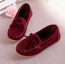 Wholesale Little Girls Red Shoes - New Girls Shoes Children's Bowknot Suede Loafers Flat Shoes Kids Fashion Sneakers Baby Peas Casual Comfortable For Little Kid Shoes