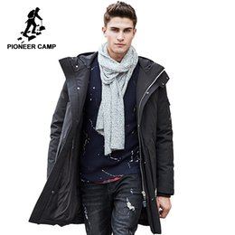1a58e968199f Pioneer Camp Russian winter down jacket men brand clothing Top quality Long  warm Thick 90% White duck down coat Male 611607 Y18103101